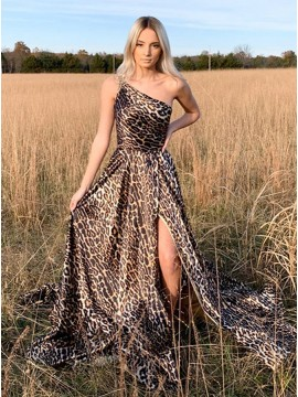 One Shoulder Leopard Print Long Prom Dress with Slit
