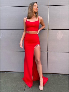 Two Piece Prom Dress Red Party Dress with Slit