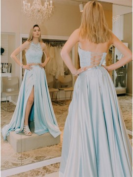 Two Piece Light Blue Long Prom Dress with Lace Split
