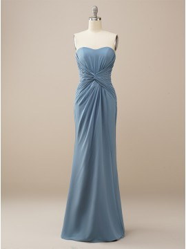 Sheath Dusty Blue Long Bridesmadi Dress