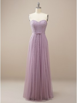 Long Sweetheart Lilac Bridesmaid Dress