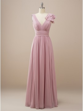Long V neck Dusty Rose Bridesmaid Dress