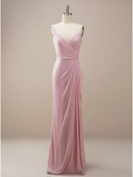 Column Long Dusty Rose Wedding Party Dress