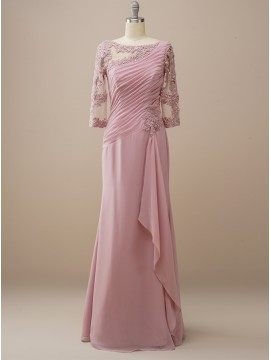 Long Dusty Rose Wedding Party Dress