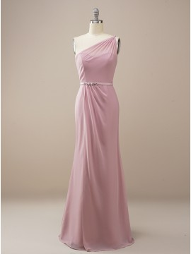Column Long Dusty Rose Bridesmaid Dress