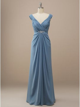 Long Sheath Dusty Blue Bridesmaid Bridesmaid Dress