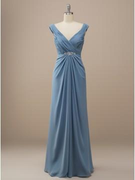 Long Sheath Dusty Blue Bridesmaid Bridesmaid Dress