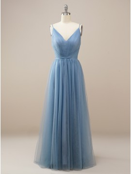 Simple Long Dusty Blue Bridesmaid Dress