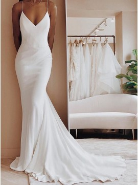 Simple Spaghetti Straps Backless Mermaid Bride Wedding Dress