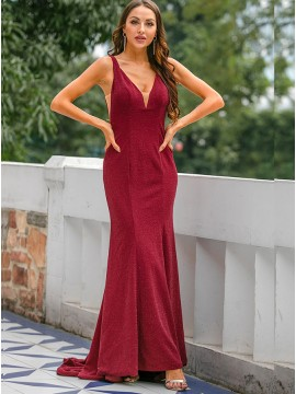 Elegant V-neck Long Mermaid Burgundy Formal Dress