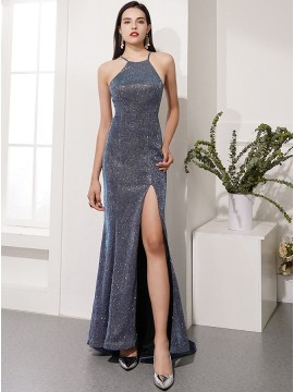 Glitter Mermaid Grey Long Prom Dress with Split
