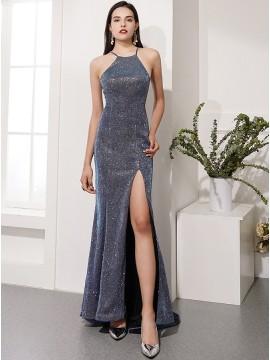 Glitter Mermaid Grey Long Prom Dress with Split