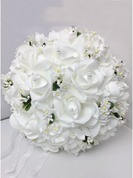 White Rose Bridal Bouquets With Pearls Bridesmaid Bouquets