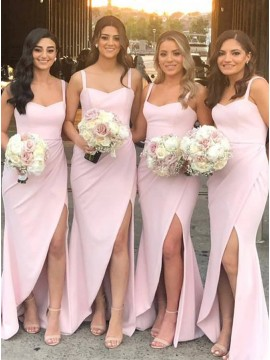 Sheath Straps Long Pink Bridesmaid Dress with Split