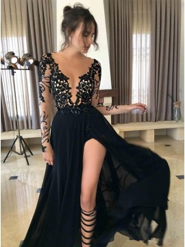 Sexy Leg Slit Long Sleeves Black Prom Dres with Lace