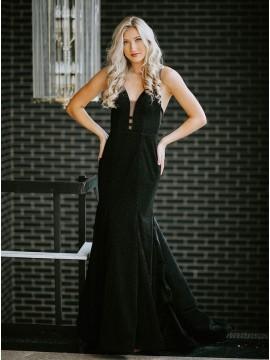 Black Satin Long Prom Dress