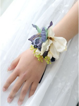 Purple and White Wrist Corsages