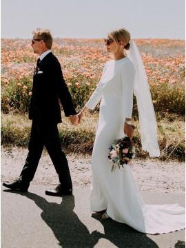 A-Line Satin Open Back Sweep Train Long Sleeve Wedding Dress