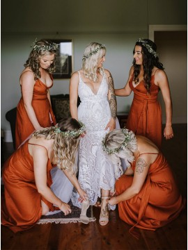 Orange A-Line V-Neck Sleeveless Long Bridesmaid Dress