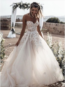 A-Line Sweetheart Wedding Dress with Appliques
