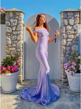 Lavender Satin Long Prom Dress