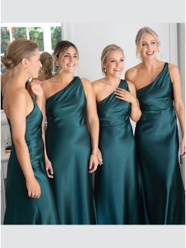 A-Line One Shoulder Sleeveless Long Bridesmaid Dress