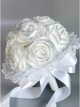 Romantic Roses Bouquets White Bridesmaid Bouquets