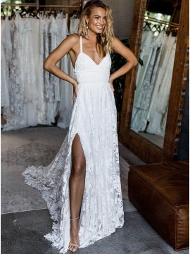 A-Line Spaghetti Straps Sweep Train Backless Beach Lace Wedding Dress