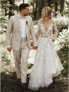 A-Line V-Neck Long Sleeves Wedding Dress with Appliques