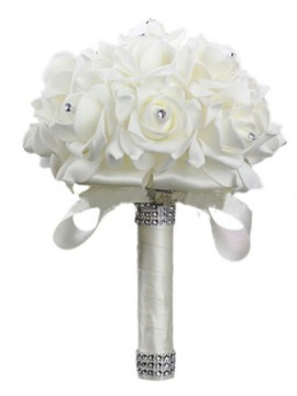 Bridal Bouquets with Crystal Stones White Bridesmaid Bouquets