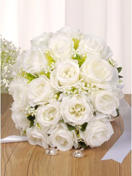Ivory Roses Bouquets With Crystal Stones for Wedding