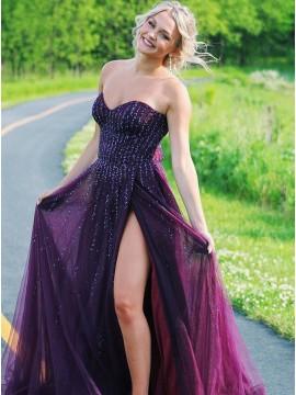 Burgundy Chiffon Long Prom Dress