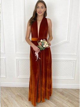 Orange Sheath V-Neck Long Bridesmaid Dress With Sleeveless