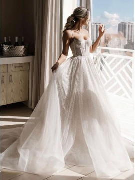 A-Line Chiffon Sleeveless Sweep Train Wedding Dress with Sequins