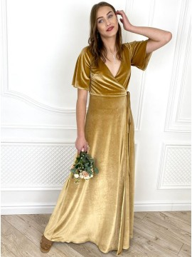 Yellow A-Line V-Neck Half Sleeves Long Bridesmaid Dress With Split