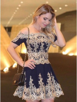 A-Line Off-the-Shoulder Short  Navy Blue Homecoming Dress with Appliques