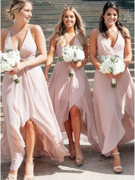 Asymmetrical Pink Bridesmaid Dress Backless Wedding Party Dress