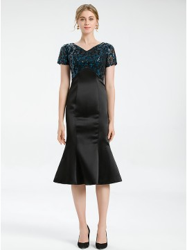 Mermaid Black and Navy Blue Formal Cocktail Dress with Short Sleeves