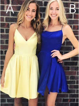 Fashion A-Line Short Yellow Homecoming Dress Satin Royal Blue Party Dress