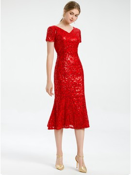 Mermaid Formal Red Lace Cocktail Dress with Short Sleeves