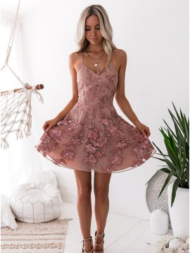 Short A-Line Organza Spaghetti Straps Blush Homecoming Dress