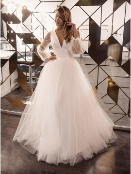 A-Line Long Sleeves Satin Open Back Long Sleeve Wedding Dress with Sweep Train