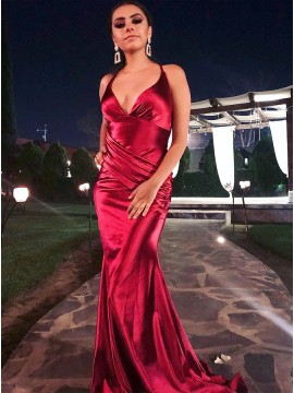 Satin Burgundy Long Prom Dress