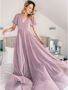 A-Line V-Neck Short Sleeves Long Bridesmaid Dress With Open Back
