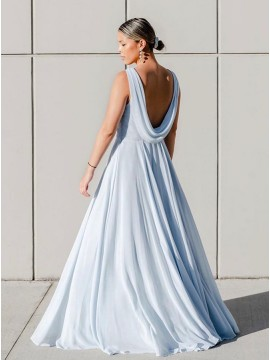 A-Line Jewel Sleeveless Long Bridesmaid Dress With Open Back