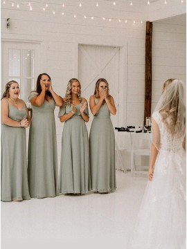 Green A-Line V-Neck Sleeveless Long Bridesmaid Dress