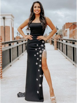 Black Satin Appliques Prom Dress