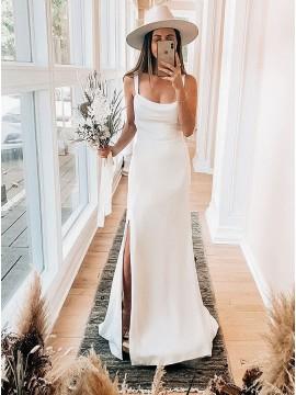 Sheath Satin Sleeveless Zipper-up Wedding Dress with Split
