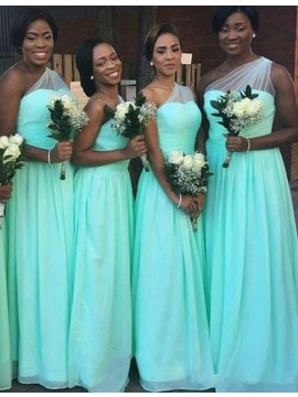 Simple Mint One Shoulder Sleeveless Floor-Length Pleats Bridesmaid Dress