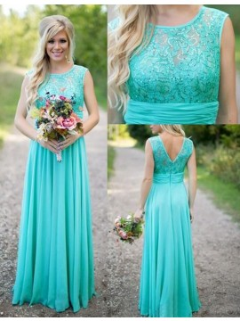 High Quality Turquoise Crew Floor-Length Beading with Lace Bridesmaid Dress